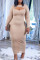 Apricot Fashion Sexy Solid Hollowed Out Split Joint O Neck Long Sleeve Dresses