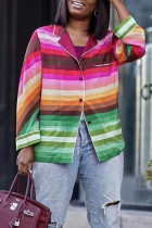 Green Fashion Casual Striped Print Cardigan Turndown Collar Tops