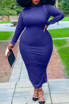 Blue Casual Solid Split Joint O Neck One Step Skirt Plus Size Dresses