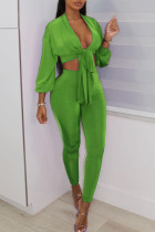 Green Sexy Solid Bandage Split Joint V Neck Three Quarter Two Pieces