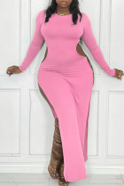 Pink Sexy Casual Solid Hollowed Out Slit O Neck Long Sleeve Plus Size Dresses
