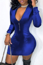 Blue Fashion Casual Solid Split Joint Zipper Collar Long Sleeve Dresses