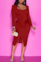 Red Casual Solid Split Joint Slit Zipper U Neck One Step Skirt Dresses