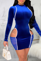 Blue Sexy Solid Hollowed Out Split Joint O Neck A Line Dresses