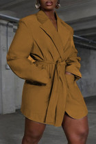 Deep Coffee Fashion Casual Solid Cardigan Turndown Collar Outerwear