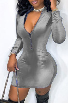 Grey Fashion Casual Solid Split Joint Zipper Collar Long Sleeve Dresses