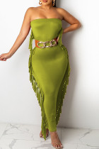 Ink Green Casual Solid Tassel Split Joint Strapless One Step Skirt Dresses(Without Belt)