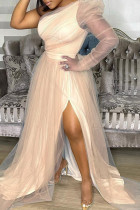 Gold Fashion Sexy Solid Backless Slit Oblique Collar Long Sleeve Plus Size Dresses