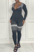 Grey Casual Sportswear Print Split Joint Zipper Collar Skinny Jumpsuits