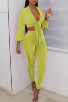 Yellow Sexy Solid Bandage Split Joint V Neck Three Quarter Two Pieces