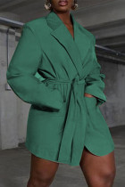 Cyan Fashion Casual Solid Cardigan Turndown Collar Outerwear