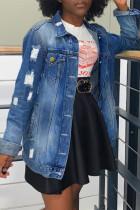 Deep Blue Fashion Casual Solid Ripped Cardigan Turndown Collar Long Sleeve Regular Denim Jacket