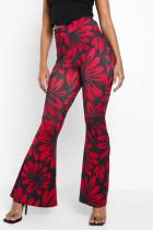Red Fashion Casual Print Split Joint Boot Cut High Waist Speaker Full Print Bottoms