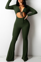 Army Green Sexy Casual Solid Bandage Hollowed Out V Neck Regular Jumpsuits