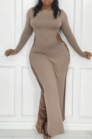 Light Gray Sexy Casual Solid Hollowed Out Slit O Neck Long Sleeve Plus Size Dresses