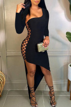 Black Fashion Sexy Solid Hollowed Out Oblique Collar Irregular Dress