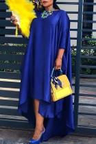 Blue Fashion Casual Solid Asymmetrical O Neck Long Sleeve Plus Size Dresses