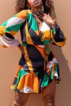 Orange Fashion Casual Print Basic V Neck Long Sleeve Dresses