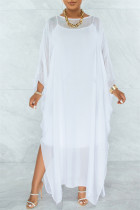 White Fashion Casual Solid See-through O Neck Long Sleeve Two Pieces