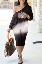 Black Casual Print Split Joint Off the Shoulder Long Sleeve Two Pieces