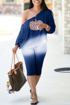 Blue Casual Print Split Joint Off the Shoulder Long Sleeve Two Pieces