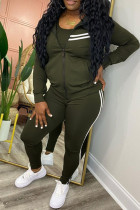 Army Green Fashion Casual Striped Split Joint Zipper Collar Long Sleeve Two Pieces