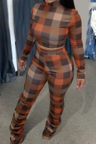 Brown Casual Plaid Print Split Joint Fold Half A Turtleneck Long Sleeve Two Pieces