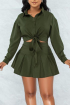 Ink Green Casual Solid Split Joint Buckle Turndown Collar Long Sleeve Two Pieces