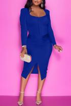 Blue Casual Solid Split Joint Slit Zipper U Neck One Step Skirt Dresses