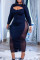 Black Fashion Sexy Solid Hollowed Out Split Joint O Neck Long Sleeve Dresses