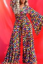 Burgundy Fashion Casual Print Basic V Neck Plus Size Jumpsuits