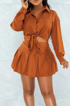 Tangerine Red Casual Solid Split Joint Buckle Turndown Collar Long Sleeve Two Pieces