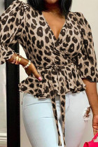 Brownness Sexy Print Leopard Bandage Split Joint V Neck Tops