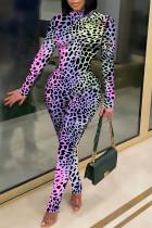 Purple Sexy Print Leopard Split Joint O Neck Regular Jumpsuits