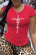 Red Fashion Sportswear Print Split Joint O Neck T-Shirts