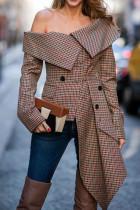 Camel Fashion Plaid Print Split Joint Asymmetrical Off the Shoulder Tops