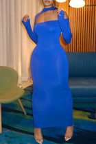 Blue Fashion Sexy Solid Hollowed Out Half A Turtleneck Long Sleeve Dresses