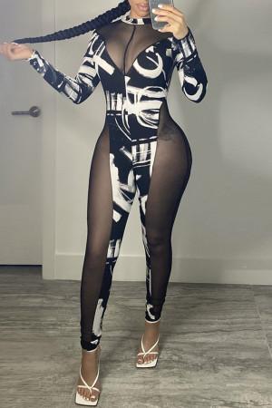 Black Fashion Sexy Patchwork Print See-through Half A Turtleneck Skinny Jumpsuits