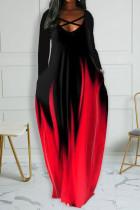 Red Casual Print Split Joint V Neck Long Sleeve Dresses
