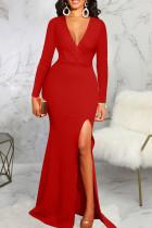 Red Elegant Solid Split Joint High Opening V Neck Evening Dress Dresses