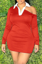 Red Fashion Casual Solid Hollowed Out Split Joint Turndown Collar Long Sleeve Dresses