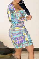 Blue Sexy Print Hollowed Out Split Joint Asymmetrical Collar Long Sleeve Two Pieces
