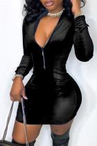Black Fashion Casual Solid Split Joint Zipper Collar Long Sleeve Dresses