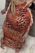 Orange Fashion Casual Print Leopard Tassel Regular High Waist Skirt