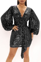 Black Sexy Solid Split Joint  Sequins V Neck One Step Skirt Dresses