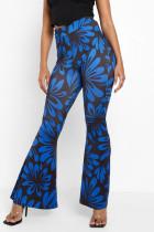 Blue Fashion Casual Print Split Joint Boot Cut High Waist Speaker Full Print Bottoms