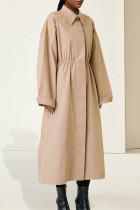 Khaki Fashion Casual Solid Basic Turndown Collar Long Sleeve A Line Dresses