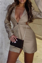 Khaki Sexy Casual Solid Backless Turndown Collar Long Sleeve Dresses