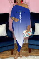 Blue Fashion Casual Gradual Change Asymmetrical Oblique Collar Long Sleeve Two Pieces