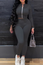 Black Fashion Casual Solid Cardigan Pants Zipper Collar Long Sleeve Two Pieces